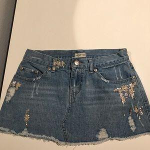 Angel Kiss denim mini skirt with sequin design